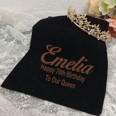 70th Birthday Gold Vine Tiara in Personalised Bag