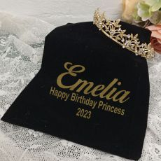 Birthday Gold Vine Tiara in Personalised Bag