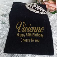 50th Birthday Large Heart Tiara in Personalised Bag