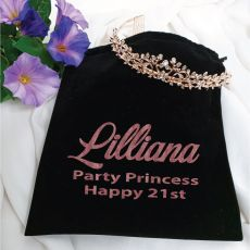 21st Birthday Alyssa Tiara Rose Gold in Personalised Bag