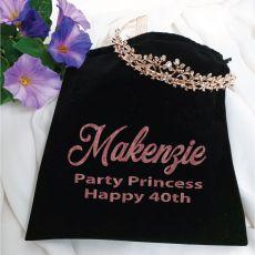 40th Birthday Tiara Alyssa Rose Gold in Personalised Bag