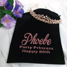 80th Birthday Alyssa Tiara Rose Gold in Personalised Bag