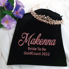 Bride Tiara Alyssa Rose Gold in Personalised Bag