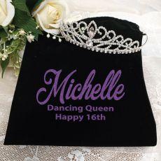 16th Birthday Large Crystal Tiara in Personalised Bag