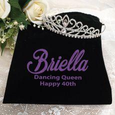 40th Birthday Large Crystal Tiara in Personalised Bag