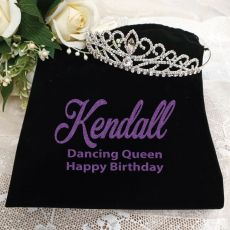Birthday Large Crystal Tiara in Personalised Bag