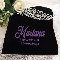 Flower Girl Large Crystal Tiara in Personalised Bag