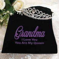 Grandma Large Crystal Tiara in Personalised Bag