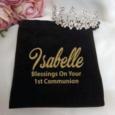 1st-Communion Medium Floral Tiara in Personalised Bag
