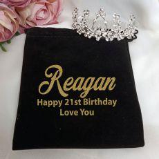 21st Birthday Medium Floral Tiara in Personalised Bag