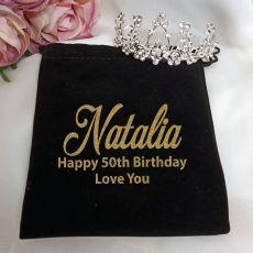 50th Birthday Medium Floral Tiara in Personalised Bag