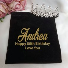 80th Birthday Medium Floral Tiara in Personalised Bag