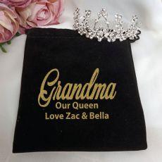 Grandma Medium Floral Tiara in Personalised Bag