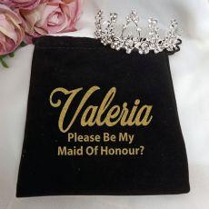 Maid of Honour Medium Floral Tiara in Personalised Bag