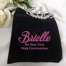Communion Medium Crystal Tiara in Personalised Bag