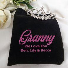 Grandma Medium Crystal Tiara in Personalised Bag