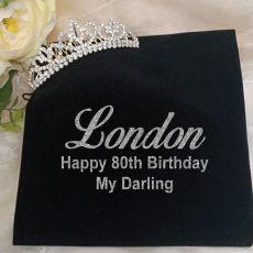 80th Birthday Silver Crystal Tiara in Personalised Bag