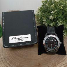 90th Birthday Watch Black Mesh Strap Personalised Box