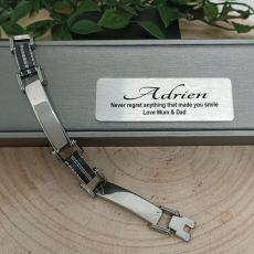Personalised Mens Stainless Steel & Black Bracelet