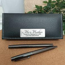 Teacher Gunmetal Pen Set Personalised Box