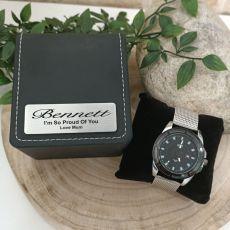 Mens Watch Gunmetal 44mm Mesh Personalised Box