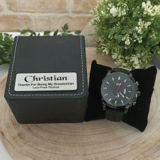 Groomsman  Watch 48mm Black Dresden Personalised Box