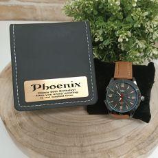 60th Birthday Watch Pagan Brown 45mm Mesh Personalised Box