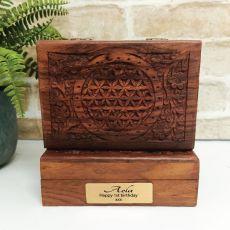 1st Flower Of Life Carved Wooden Trinket Box