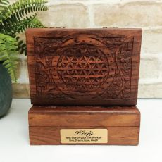 21st Flower Of Life Carved Wooden Trinket Box