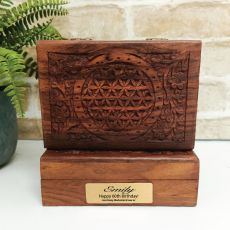 60th Flower Of Life Carved Wooden Trinket Box
