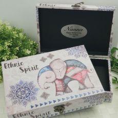 Personalised Nana Boho Elephant Personalised Trinket Box