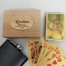 Personalised Birthday Gold Playing Cards In Wooden Box