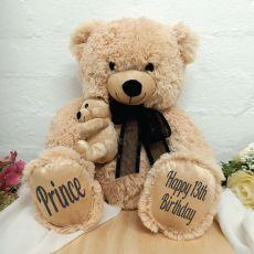Personalised Bear & Baby Bear Black Bow