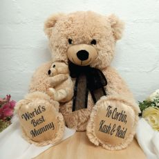 Mumma Bear & Baby Bear Personalised Plush - Black