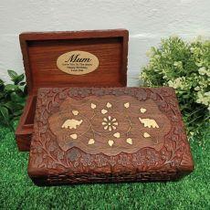 Mum Gold Inlay Elephant Sheesham Wood Trinket Box