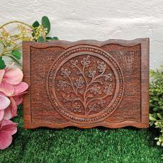Carved Flower of Life Wood Trinket Box