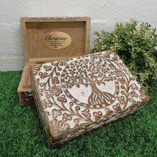Christening Tree Of Life Boho Carved Wooden Box