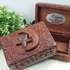 18th Birthday Carved Wooden Trinket Box - Star & Moon