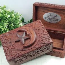 Godmother Carved Wooden Trinket Box - Star & Moon