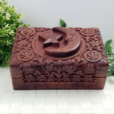 Carved Wooden Trinket Box - Star & Moon