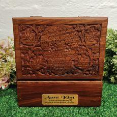 Aunt Carved Wooden Trinket Box Skull