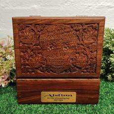 Christening Carved Wooden Trinket Box Skull