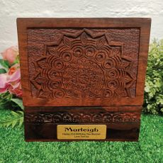 21st Birthday Carved Mandala Wood Trinket Box