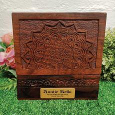 Aunt Carved Mandala Wood Trinket Box