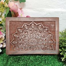 Carved Mandala Wood Trinket Box