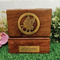 16th Birthday Unicorn Gold Inlay Wood Trinket Box
