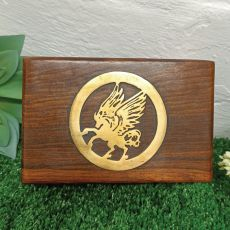 Wood Trinket Box with Gold Inlay Unicorn