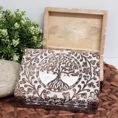 Tree Of Life Boho Carved Wooden Box