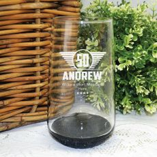 50th Birthday Engraved Personalised Glass Tumbler (M)