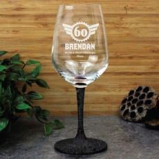 60th Birthday Engraved Personalised Wine Glass 450ml (M)